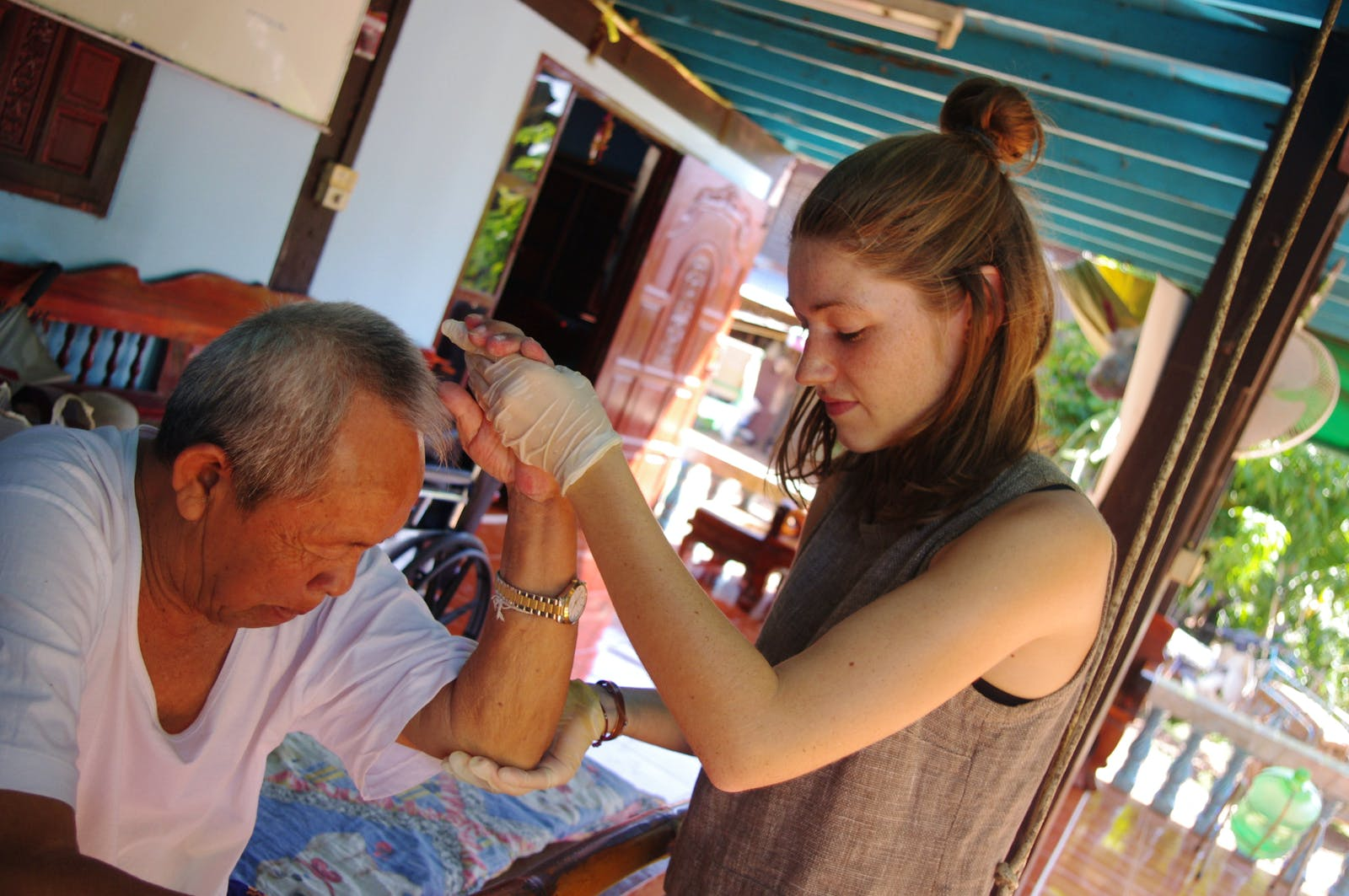Physiotherapist at traditional Thai village